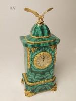 Часы малахит, литье - бронза